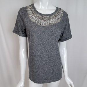 Topshop Embellished Jewelled Grey Heather T-Shirt